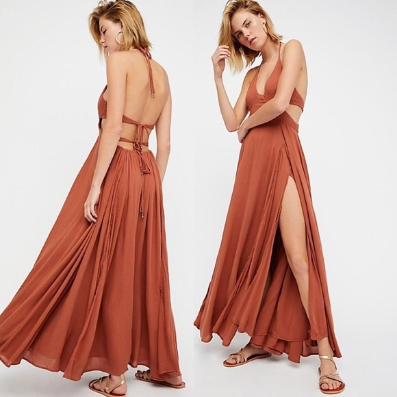 03cefebae126 Free People Dresses & Skirts - Free People Lille Maxi Dress Flowy Boho  Orange XS